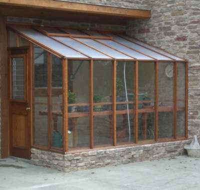 Custom 9 x 11 Deluxe Glass-to-Ground Lean-to greenhouse attached one end