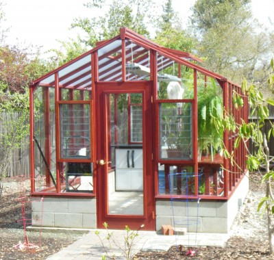 """9x14 Deluxe Glass-to-Ground with two jalousie windows and Full Lite door on 18"""" high block base wall"""