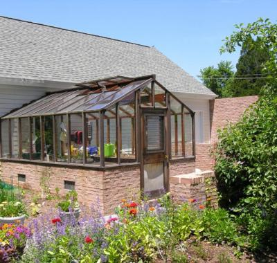 Greenhouse attached to house