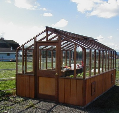 Redwood greenhouse on farm in Oregon
