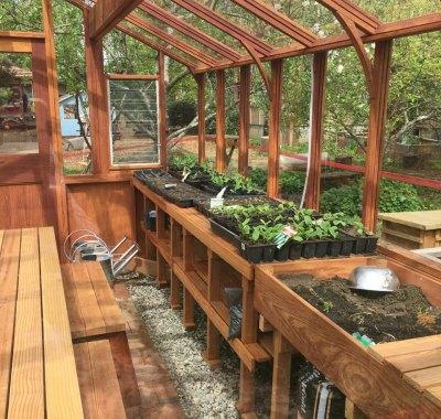 Inside 12x14 Deluxe Regular Greenhouse