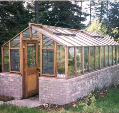 Greenhouse on brick base with Jalousie windows