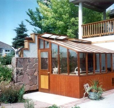 Custom lean-to redwood greenhouse