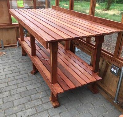 2-tier bench inside 9x16 Garden Deluxe