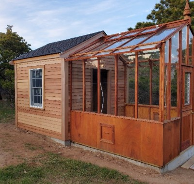 """9x9 Garden Deluxe Attached greenhouse on custom 32"""" high Sturdi-Built base wall attached to garden shed"""