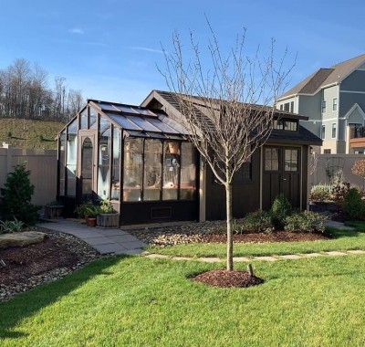 9x7 Garden Deluxe Attached painted black attached to shed in Pennsylvania