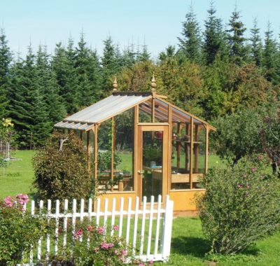 Tall glass greenhouse in Hood River, OR