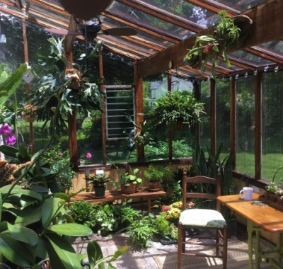 Interior of 10x18 Lean-to greenhouse with  two 2x8 redwood beams used as a patio space
