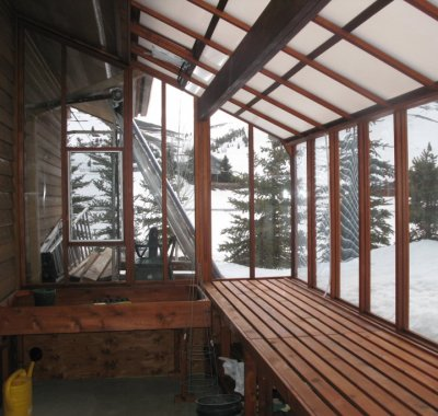Interior of 8x14 Garden Sunroom  with double 2x6 redwood beam and White Twin Wall Thermal Option