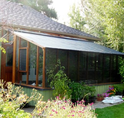 9x18 Garden Sunroom greenhouse in Bend Oregon. with shade cloth on roof and side wall