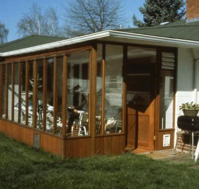 Custom Garden Sunroom, located in Beaverton OR, built under wide eave