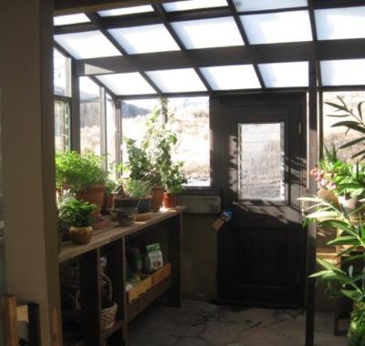 Interior of a Garden Sunroom greenhouse in Idaho