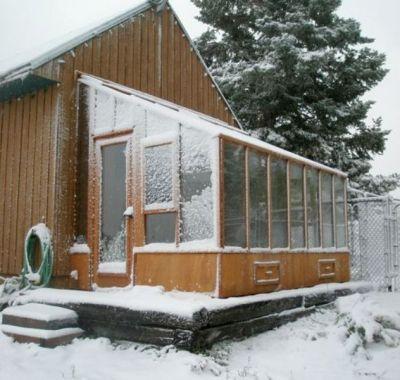 Garden SunRoom greenhouse in Snow