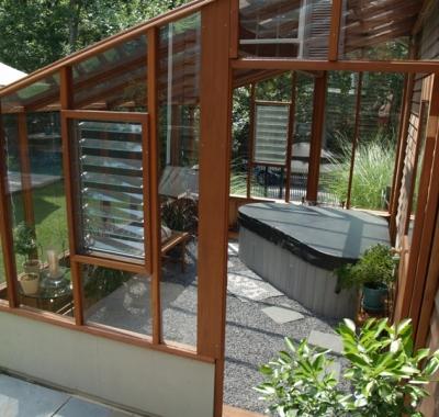 Interior of Garden Sunroom with triangular hot tub