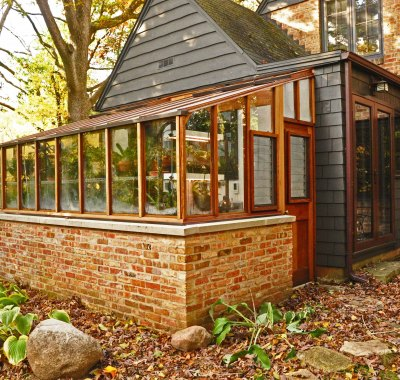 8x14 Garden Sunroom Lean-to with brick base wall