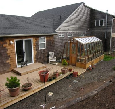Redwood greenhouse in an Oregon coast garden