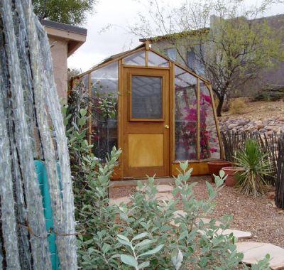 11' wide Solite redwood greenhouse in desert