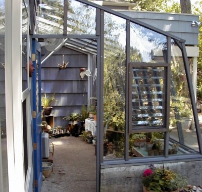 """7 1/2 x 14 Solite Lean-to on 18"""" base wall and Jalousie Window for additional ventilation"""