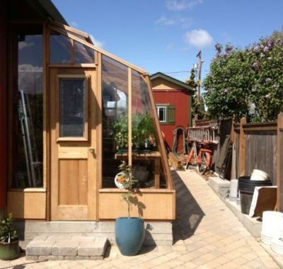 """Solite Lean-to greenhouse on custom 18"""" base wall"""