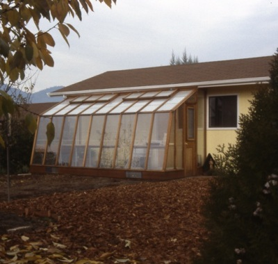 7 1/2' wide Solite Lean-to greenhouse with Insert Wall used to fit under the house eaves