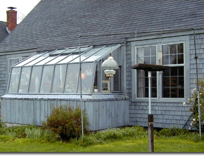 Small lean-to redwood greenhouse