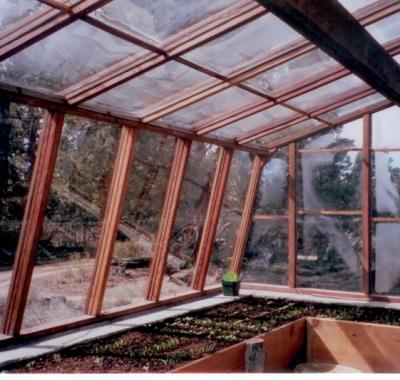 Interior of Lava rock greenhouse