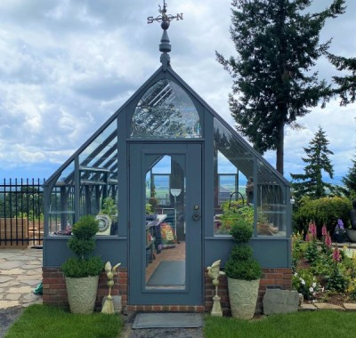 10x18 Tudor greenhouse with beautiful view overlooking Willamette Valley, OR