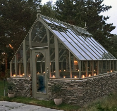 14x14 Tudor Greenhouse by candlelight