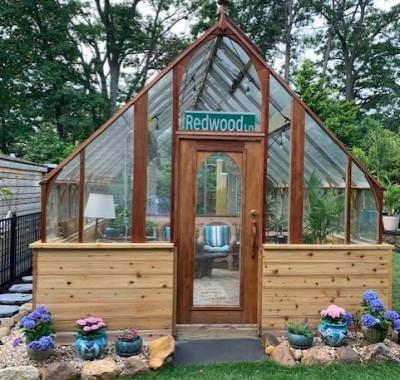12x14 Tudor greenhouse on customer-provided base wall