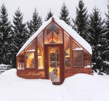 Tudor Greenhouse in snow