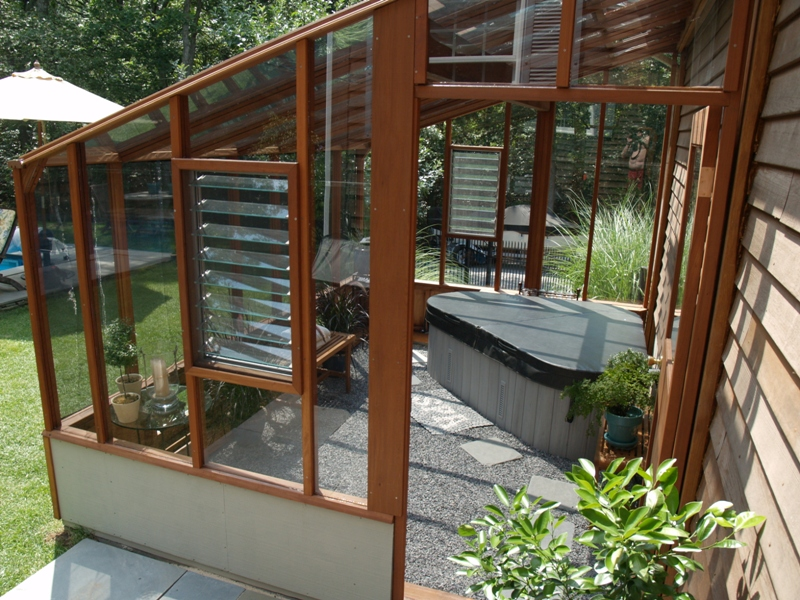 Greenhouse with hot tub