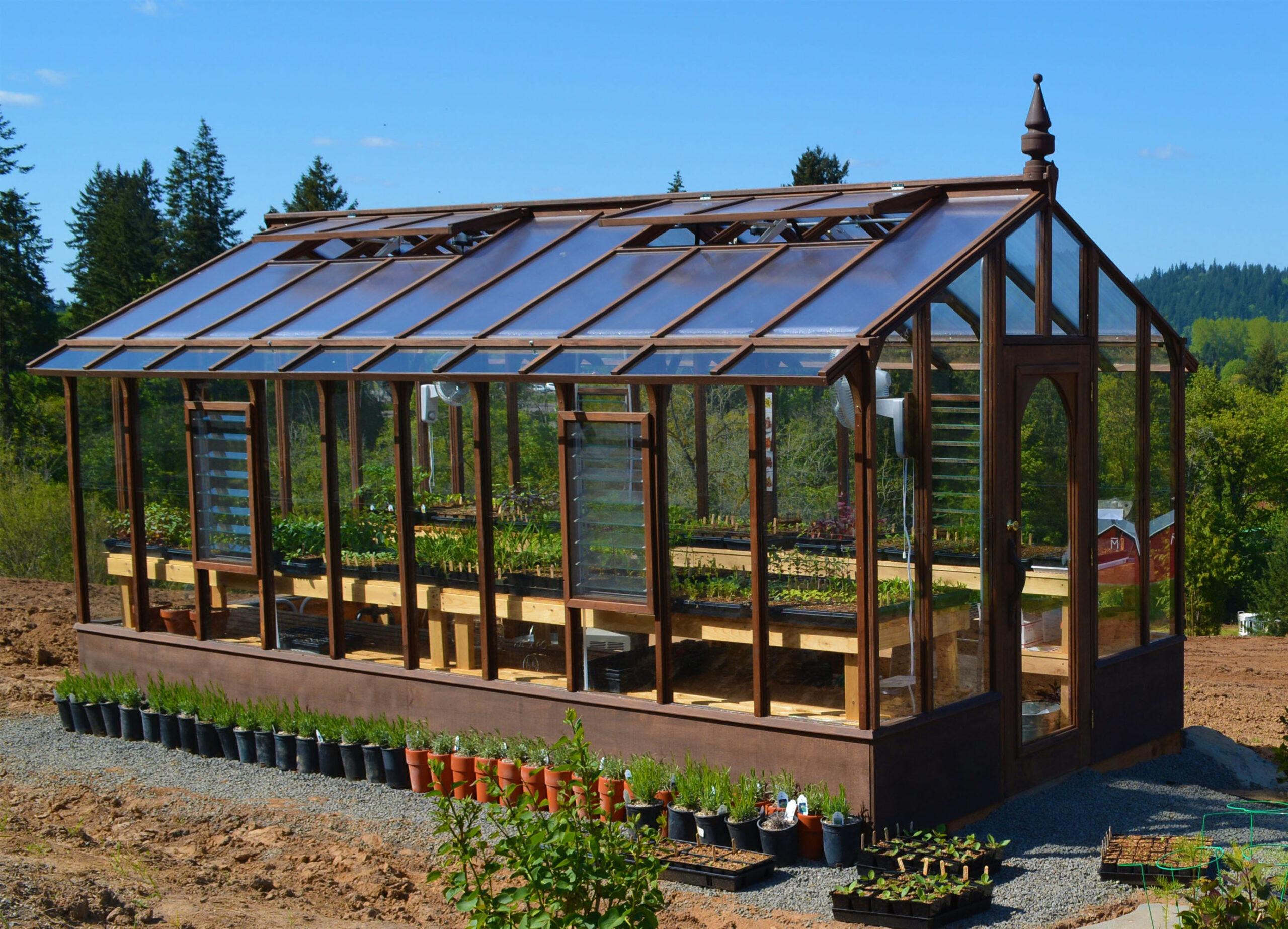 redwood and glass greenhouse kits